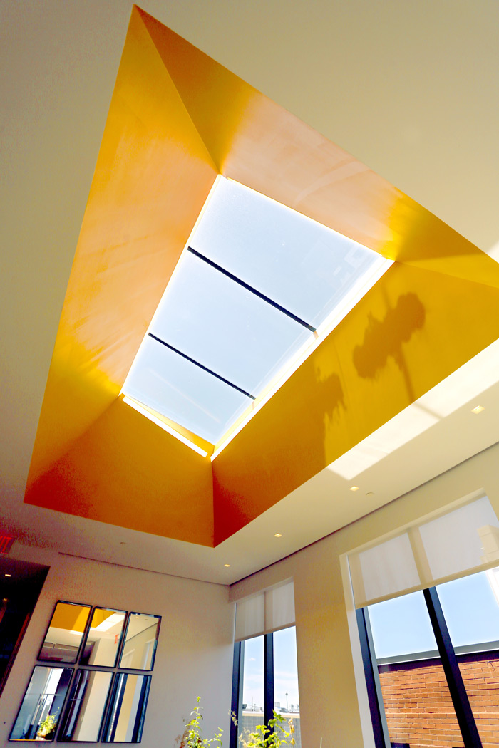 Looking up at a large single slope skylight design