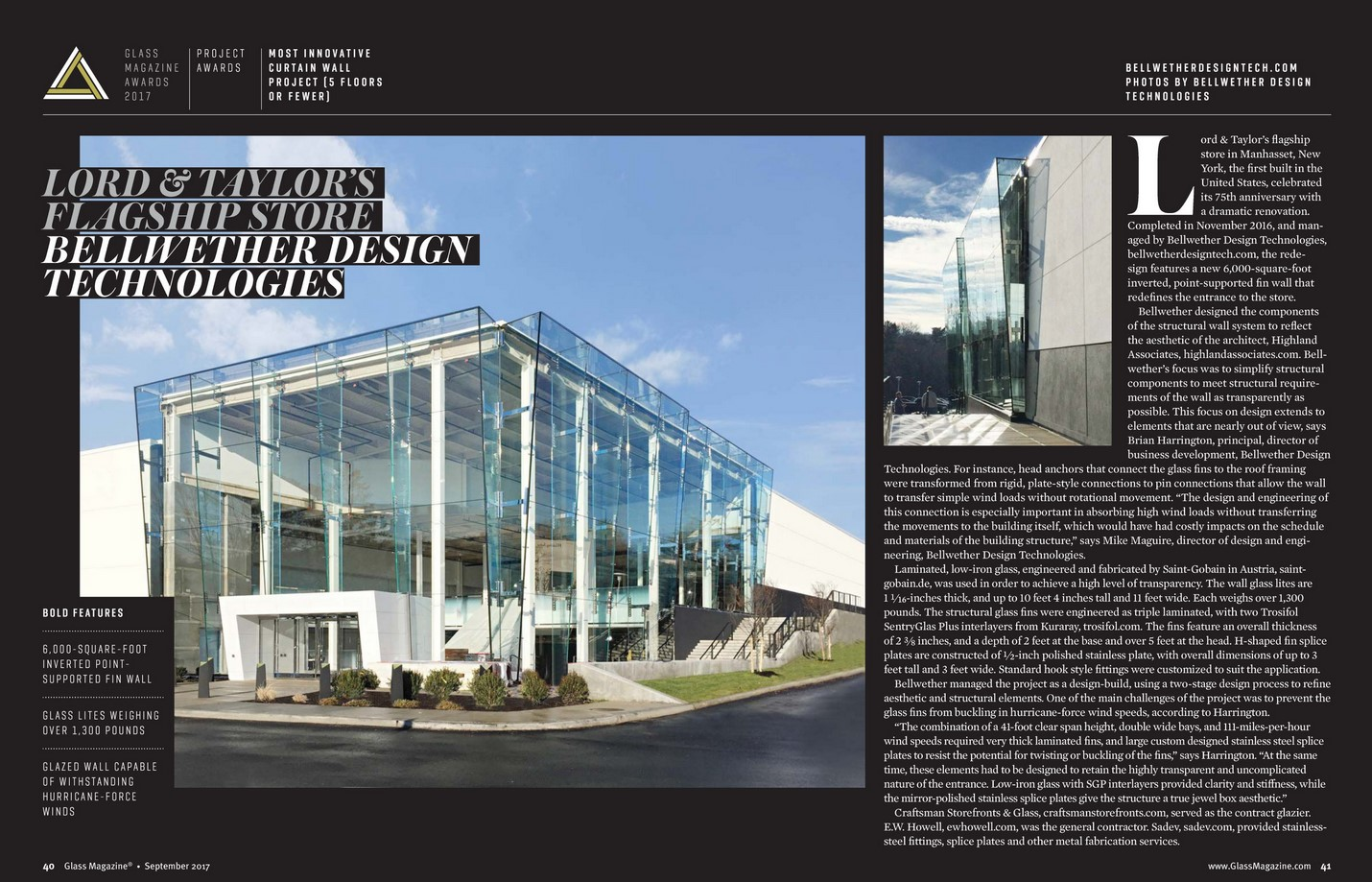 Bellwether Wins Most Innovative Curtain Wall Glass Magazine Awards 2017